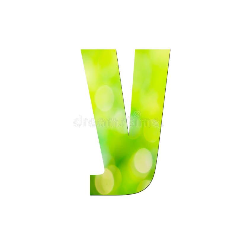 Verde natural em pequena letra 'y' sobre fundo branco ilustração do vetor