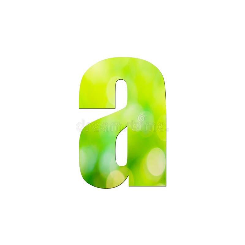 """Verde naturale nella lettera minuscola """"a """"su fondo bianco fotografia stock"""