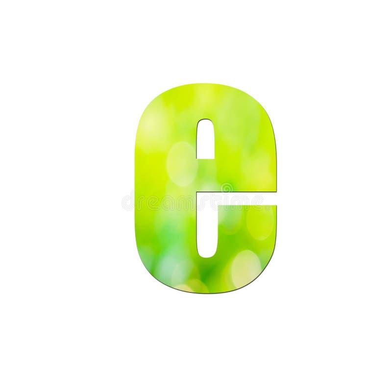 """Verde naturale nella lettera minuscola """"e """"su fondo bianco fotografia stock"""