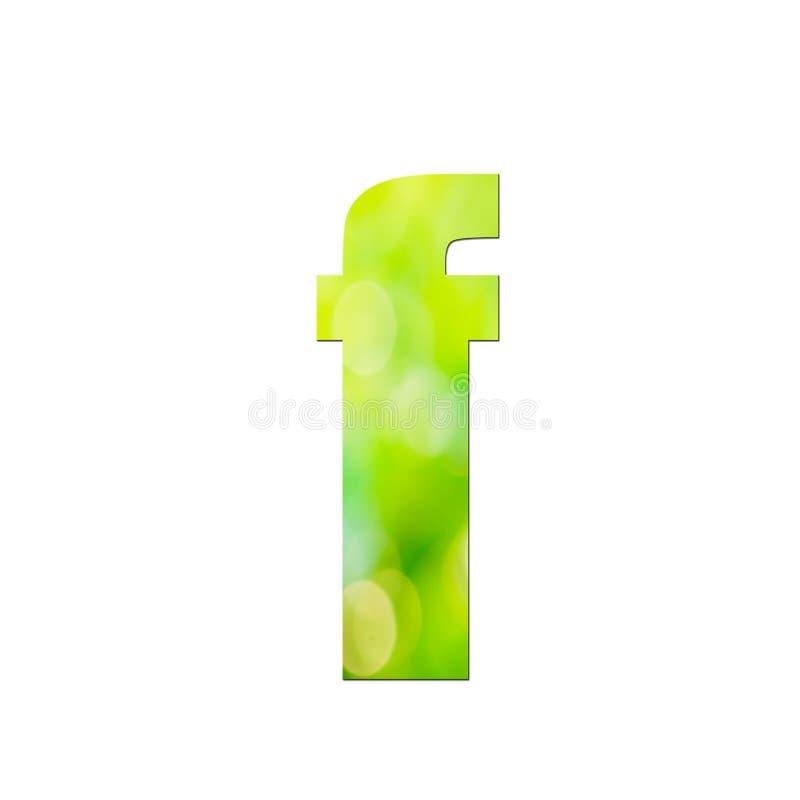 """Verde naturale nella lettera minuscola """"f """"su fondo bianco fotografia stock"""