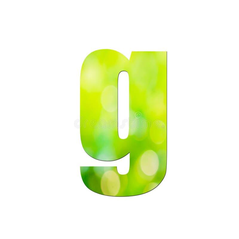 """Verde naturale nella lettera minuscola """"g """"su fondo bianco immagini stock"""