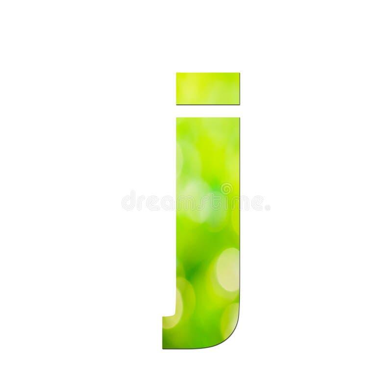"""Verde naturale nella lettera minuscola """"J """"su fondo bianco fotografie stock libere da diritti"""
