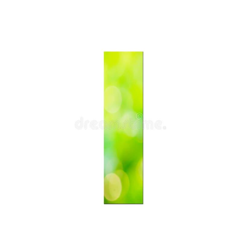 """Verde naturale nella lettera minuscola """"l """"su fondo bianco fotografia stock"""