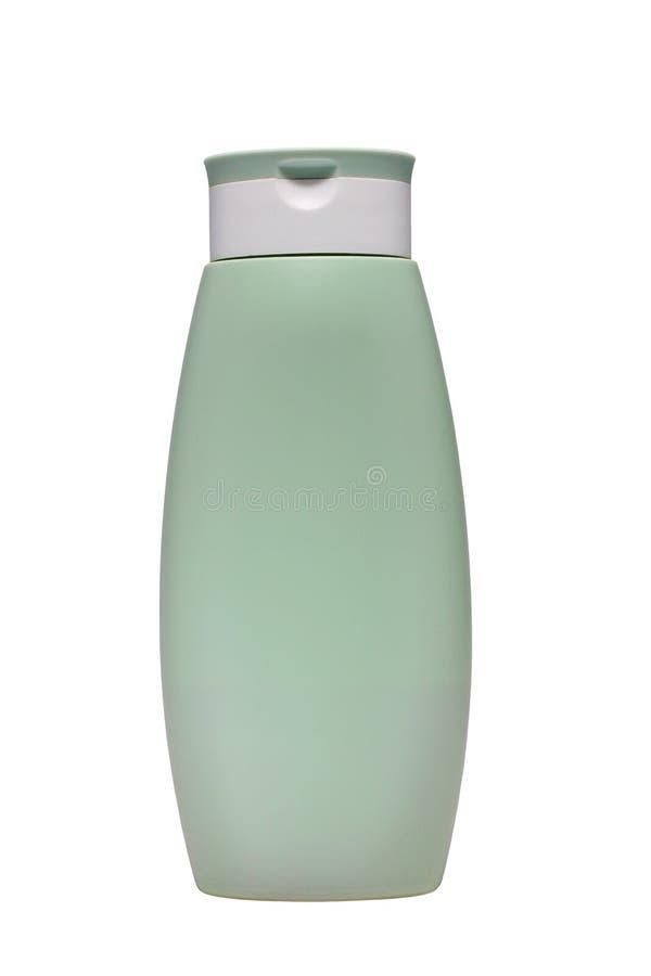 Verde pastel da garrafa plástica com tampa Os índices da garrafa podem ser a loção, o champô, o condicionador etc. Isolado no bac imagem de stock royalty free