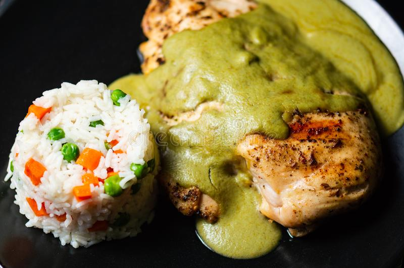 Verde pipian o del topo pipian verde, comida mexicana tradicional imagen de archivo libre de regalías