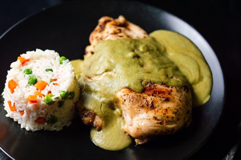 Verde pipian o del topo pipian verde, comida mexicana tradicional imágenes de archivo libres de regalías