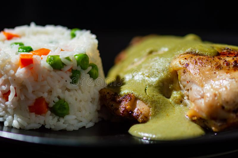 Verde pipian o del topo pipian verde, comida mexicana tradicional fotografía de archivo