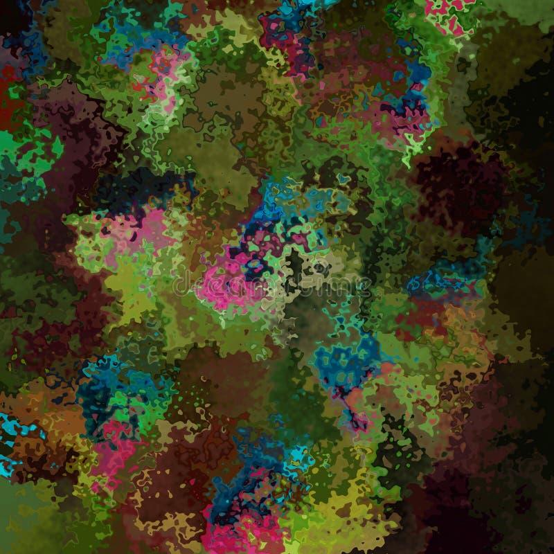 Verde quadrado manchado abstrato do pavão do fundo do teste padrão, cor caqui, marrom, azul, cor-de-rosa - arte moderna da pintur ilustração do vetor