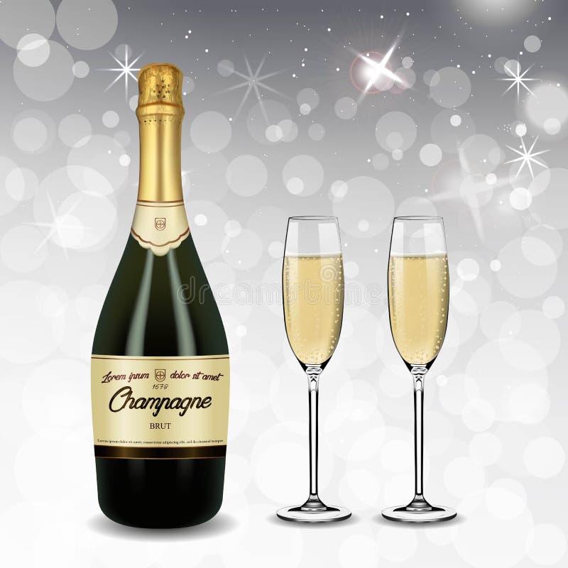 Verde realistico di vettore con la bottiglia ed i vetri di Champagne dell'etichetta dell'oro con vino bianco scintillante isolato illustrazione vettoriale