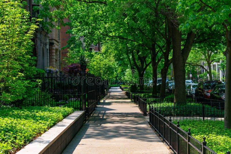 Verde Residencial Sombreado Sidewalk no bairro Gold Coast de Chicago foto de stock