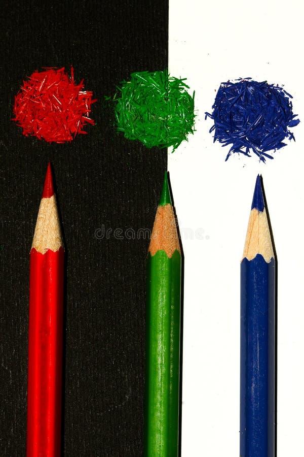 Verde rojo y se corrige en el backround blanco y negro, rgb imagen de archivo libre de regalías