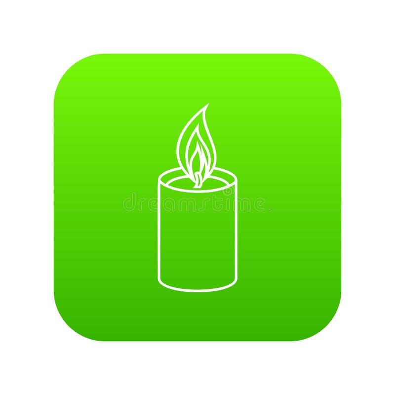Verde romanzesco dell'icona della candela illustrazione di stock