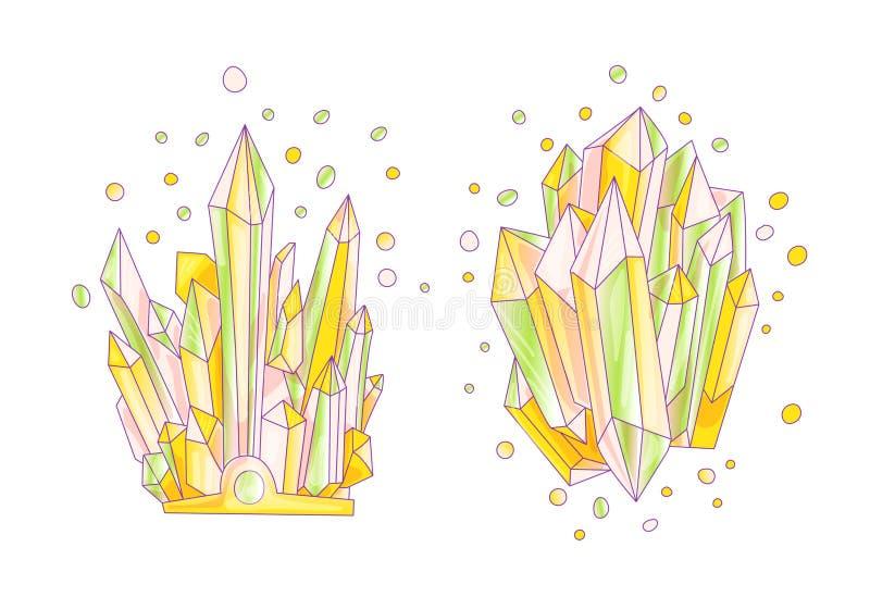 Verde, rosa e cristal alaranjado, ilustração bonito de quartzo do vetor dos desenhos animados Druso do cristal de quartzo, grão c ilustração royalty free