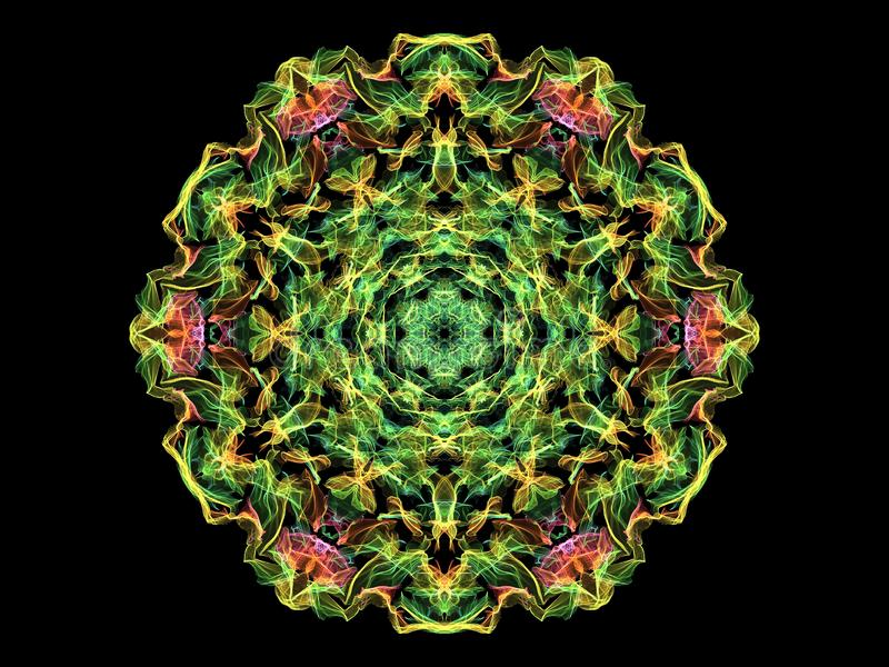 Verde, rosa y flor abstracta amarilla de la mandala de la llama ilustración del vector