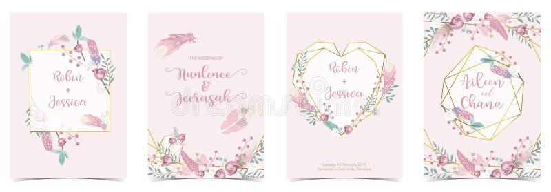 Verde rosado del corazón de la geometría, tarjeta de la invitación de la boda del oro con la rosa ilustración del vector
