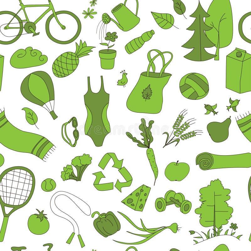 Verde saudável do teste padrão do estilo de vida ilustração do vetor