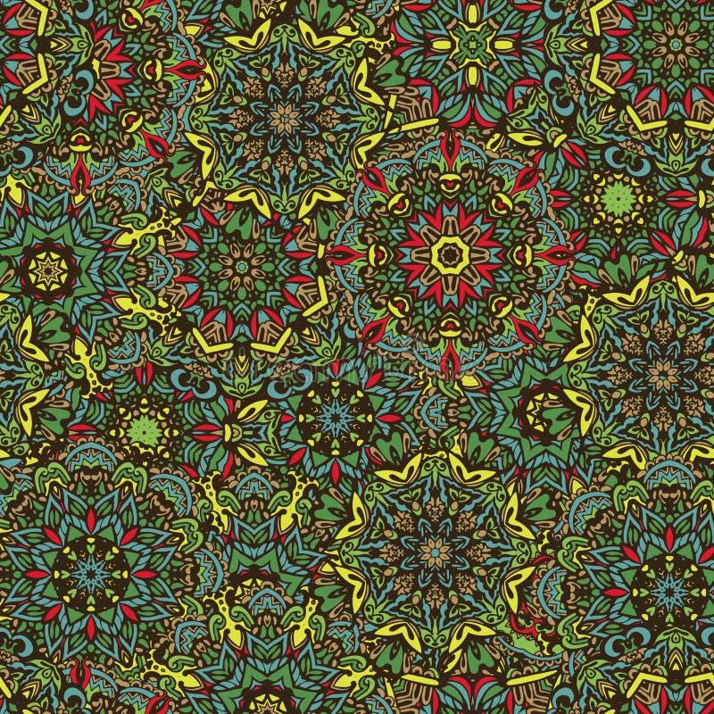 Verde sem emenda da mola do teste padrão do sumário da flor da mandala ilustração stock