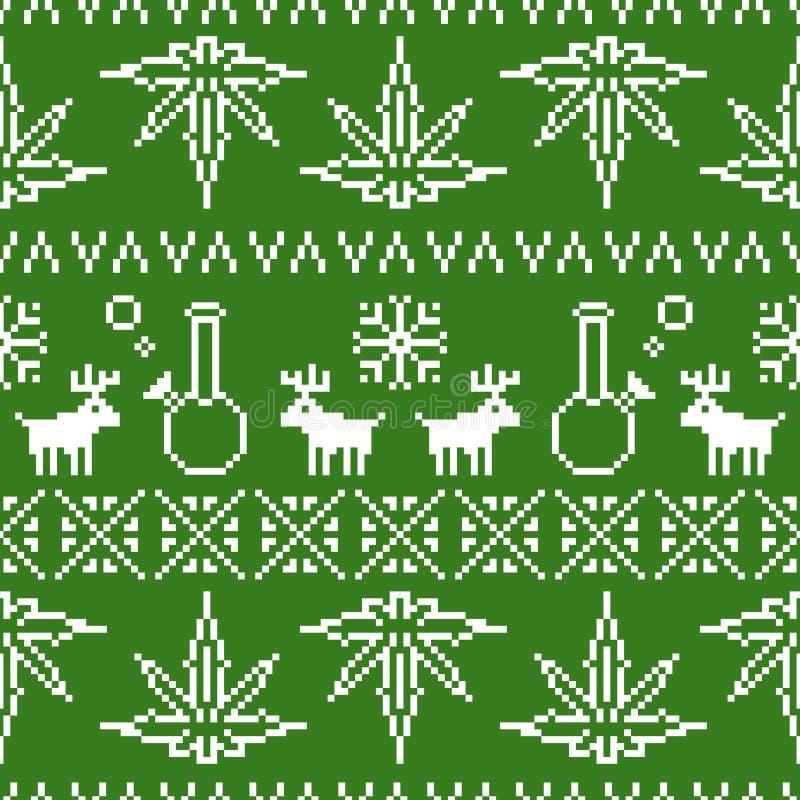 Verde sem emenda do fundo do vetor da erva daninha do Natal da arte do pixel ilustração stock