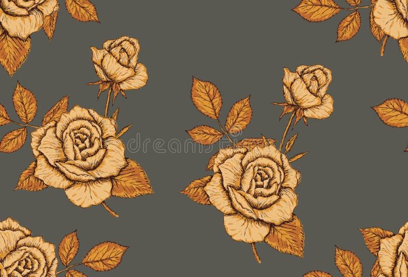 Verde sem emenda do teste padrão das rosas desenhados à mão e cores amarelas, vetor ilustração stock