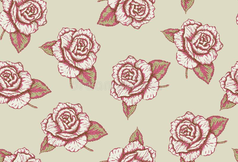 Verde sem emenda do teste padrão das rosas desenhados à mão e cores cor-de-rosa, vetor ilustração do vetor