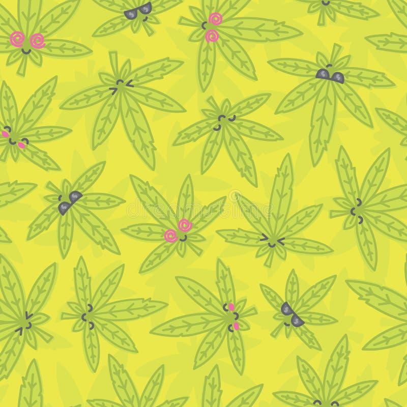 Verde sem emenda do teste padrão do vetor da erva daninha do kawaii dos desenhos animados ilustração royalty free