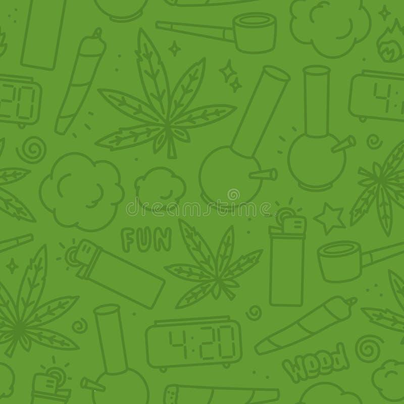 Verde sem emenda do teste padrão do vetor dos desenhos animados da erva daninha da marijuana ilustração do vetor