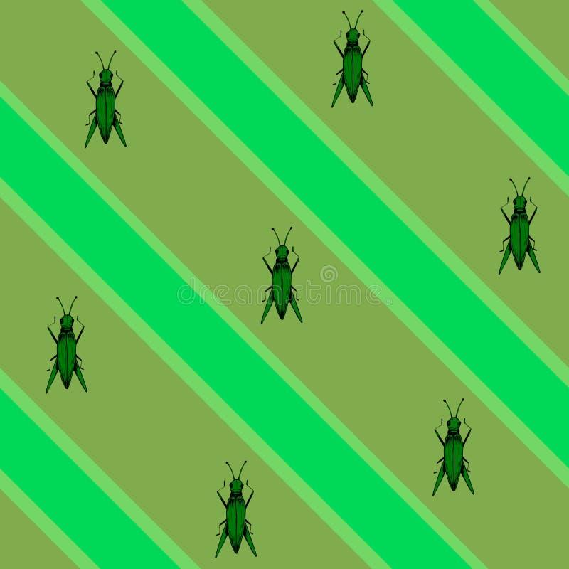 Verde sem emenda tirado mão do teste padrão ilustração stock