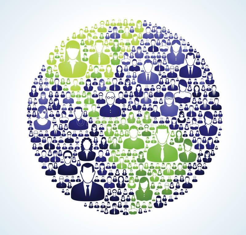 Verde social de la población del mundo ilustración del vector
