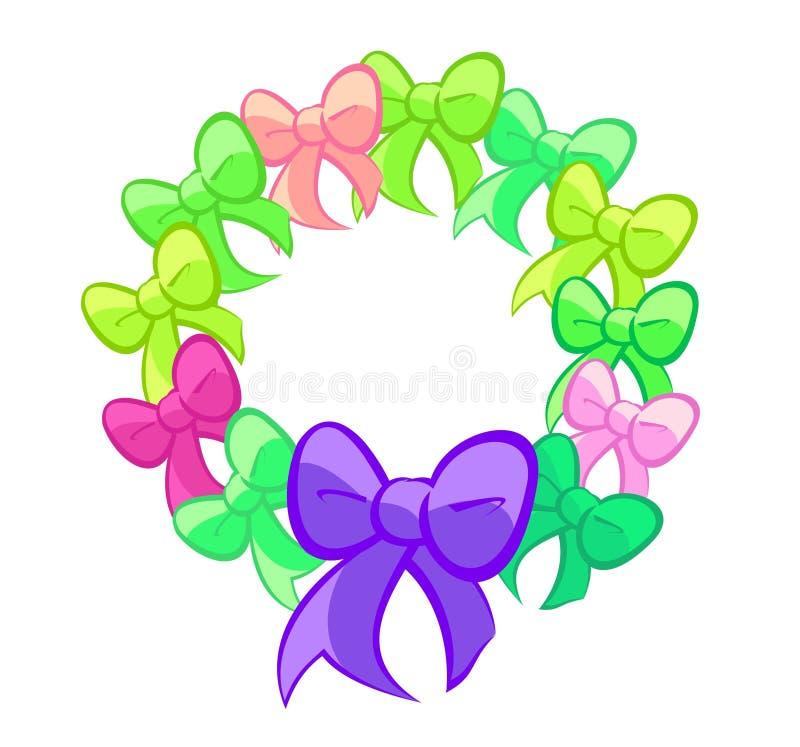 Verde sveglio e Violet Bows Wreath illustrazione vettoriale