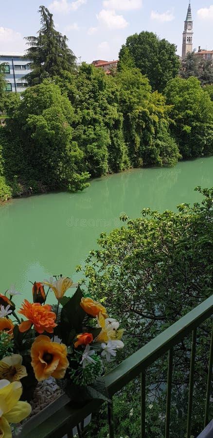 Verde três Itália de rio da flor foto de stock royalty free
