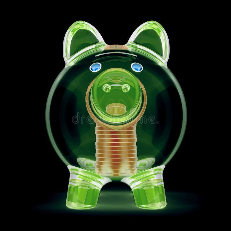 Verde transparente de vidro e moedas do raio X secreto do raio X do mealheiro ilustração stock