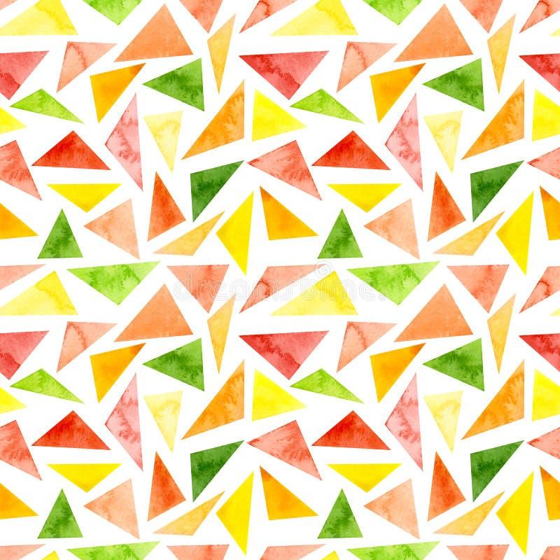 Verde vivo de la acuarela y modelo rosado de la repetición de los triángulos stock de ilustración