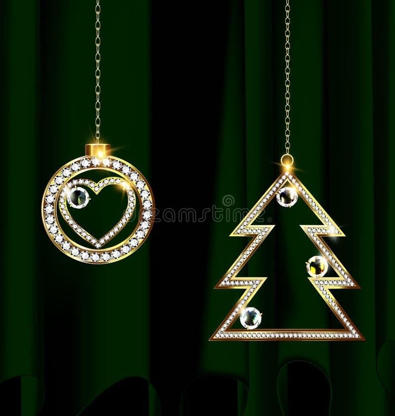 Verde y decoración de la Navidad de la joya ilustración del vector