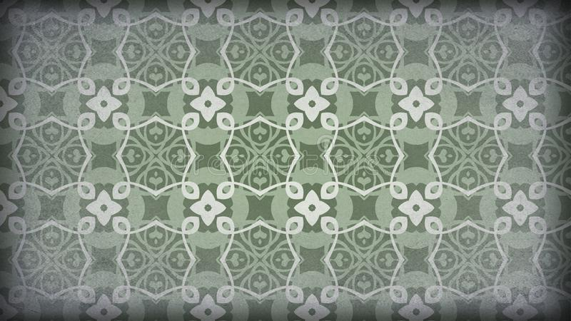 Verde y diseño del papel pintado de Gray Vintage Decorative Floral Pattern stock de ilustración