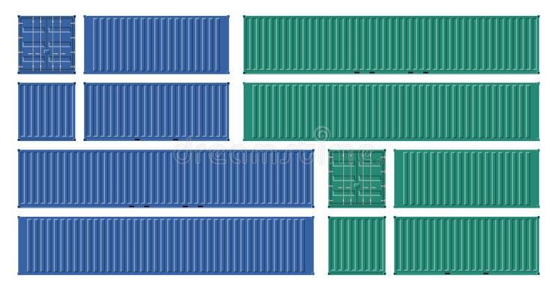 Verde y maqueta del vector del contenedor para mercancías del Bleu ilustración del vector