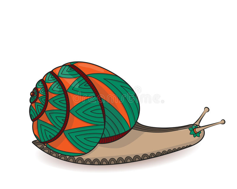 Verde y naranja del caracol Animales invertebrados del vector de la fauna Vida salvaje el ejemplo de la cóclea del enredo del zen ilustración del vector