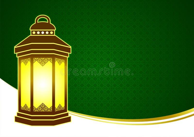 Verde y oro Eid Mubarak Ramadhan Greeting Card feliz con la plantilla del espacio en blanco de la linterna libre illustration