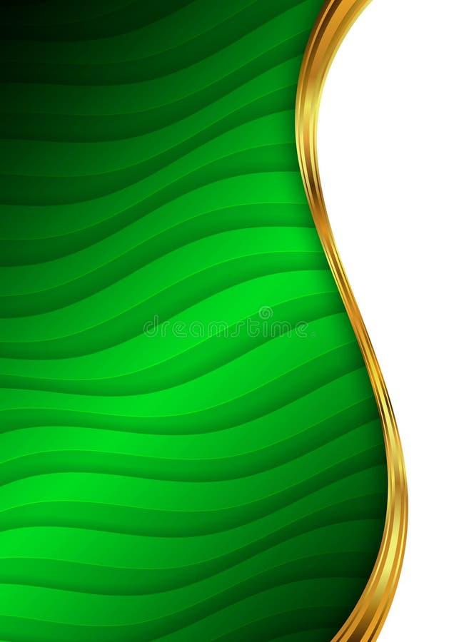 Verde y plantilla abstracta para el sitio web, bandera, tarjeta del fondo del oro de visita stock de ilustración