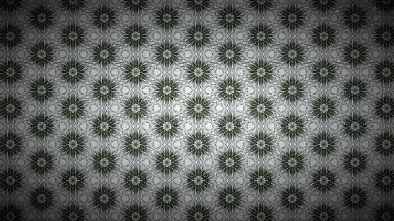 Verde y plantilla del fondo de Gray Vintage Floral Pattern Texture stock de ilustración