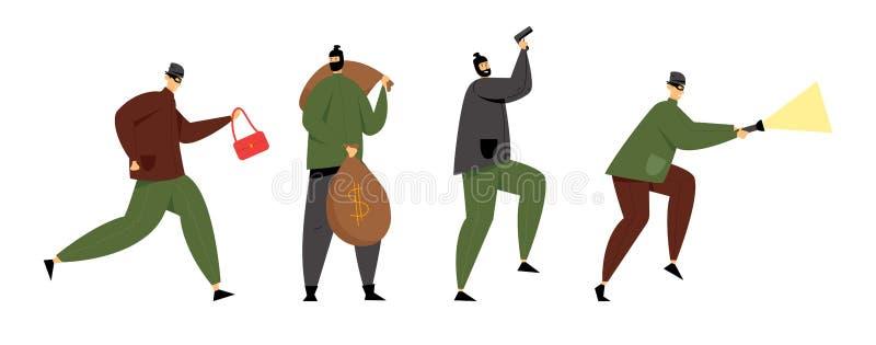 Verdeckte Einbrecher oder Räuber Verbrecher-Holding-Gewehr, gestohlene Tasche, Geld-Säcke und glühende Taschenlampe Diebe stehlen lizenzfreie abbildung