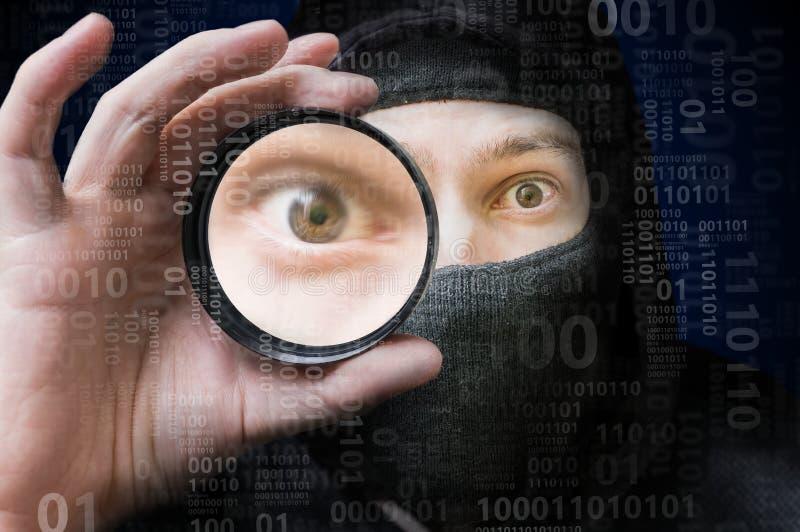 Verdecktes anonymes Hackerscannenbinär code stockbild