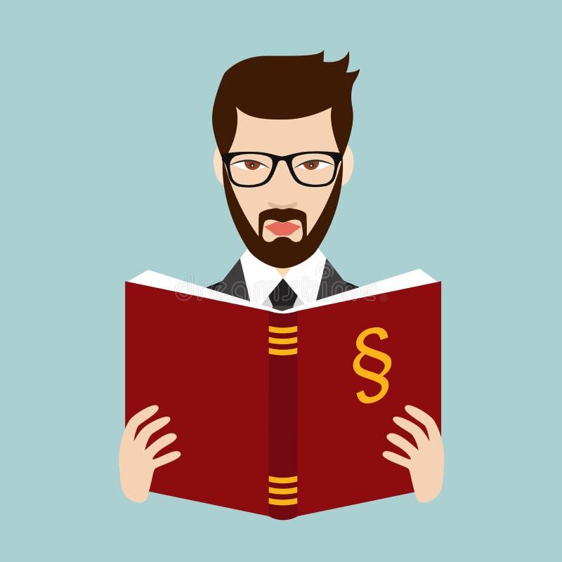 Verdediger, advocaat die een wetsboek lezen Vlakke vector royalty-vrije illustratie