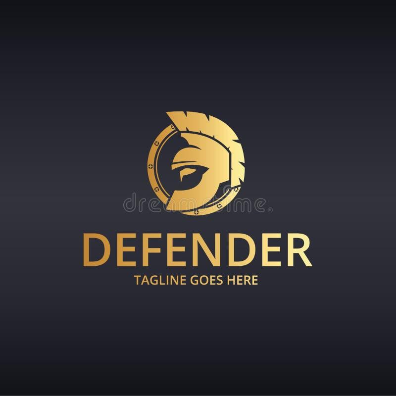 Verdedigerembleem Strijder logotype stock illustratie
