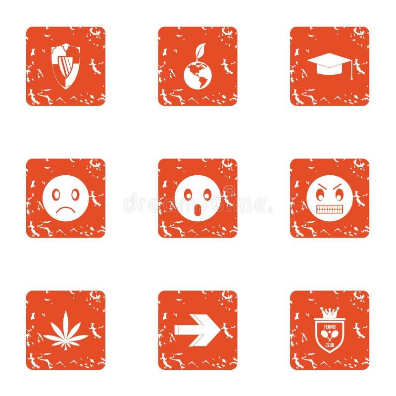 Verdedigings geplaatste woedepictogrammen, grunge stijl stock illustratie