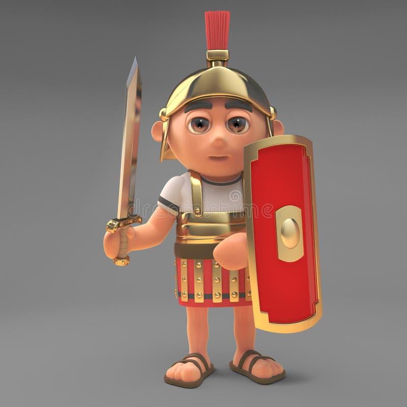 Verdedigings Roman centurion militair met zwaard en schild, 3d illustratie stock illustratie