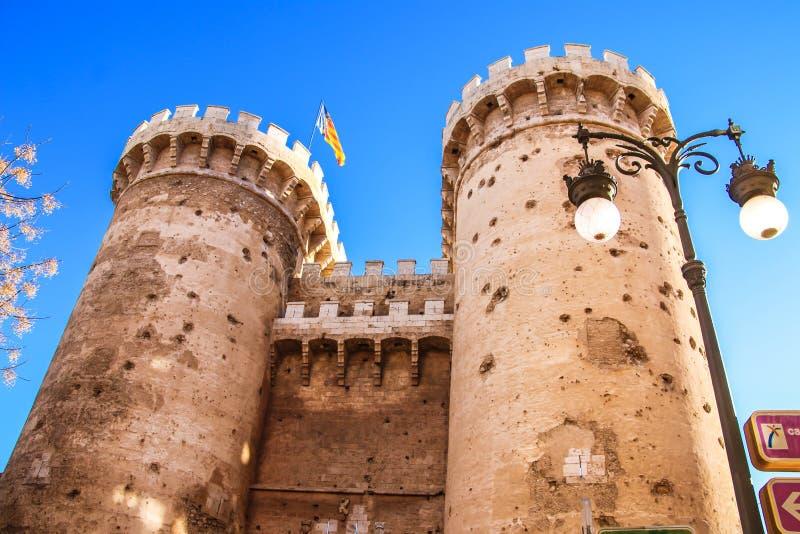 Verdedigingstorenskwart gallon in het historische centrum van Valencia royalty-vrije stock afbeeldingen