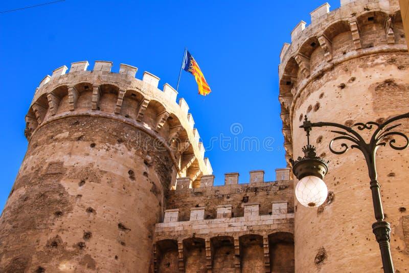 Verdedigingstorenskwart gallon in het historische centrum van Valencia royalty-vrije stock foto's