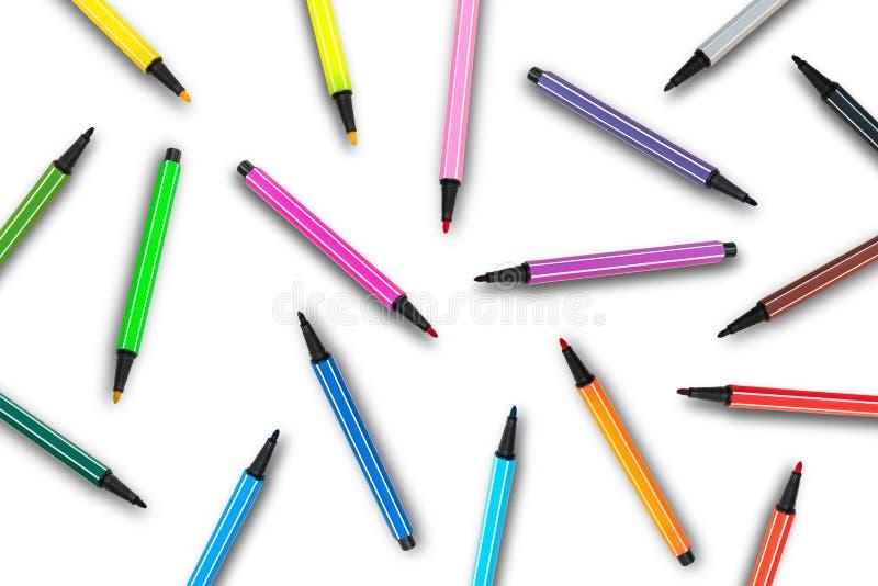 Verdeel van Kleurrijke magische die pennen willekeurig op witte achtergrond worden geïsoleerd royalty-vrije stock foto