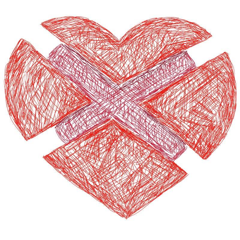 Verdeeld hart vector illustratie