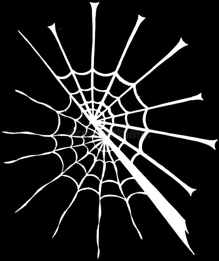 Verdeeld wit spinneweb grafisch art. stock foto